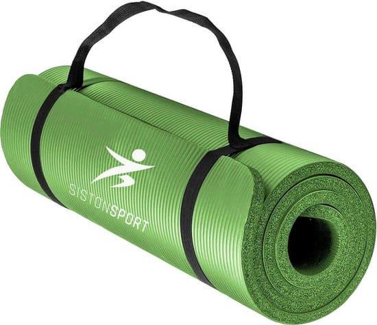 Siston Sport Fitnessmat –  183 cm x 61 cm x 1.5 cm – Yoga mat-  Groen – Inclusief draagtas en extra draagriem