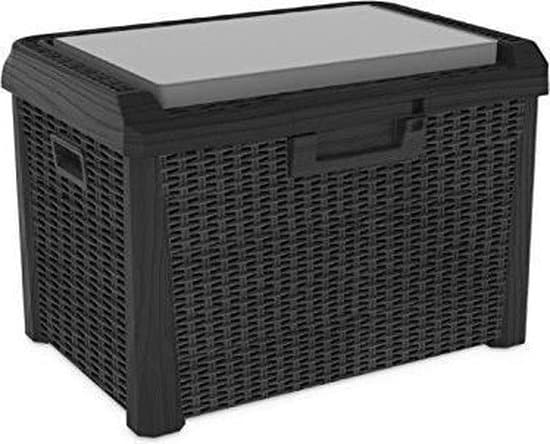 Toomax Santorini Plus kussenbox tuinbank - 73x50x50cm - Antraciet -  opbergbox voor tuinkussens