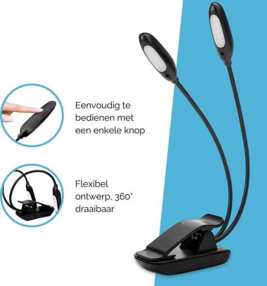 Leeslampje voor Boek - 9 Lichtstanden - Leeslamp Boek - USB Oplaadbaar - Leeslampje met Klem - Eenvoudig te Bedienen