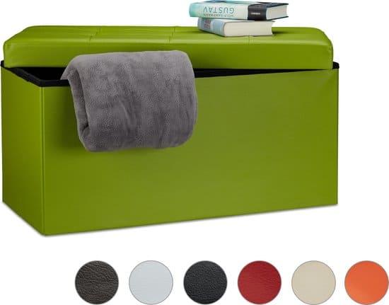 relaxdays Opvouwbare bank + opslag - Zitbank kunstleer - Bankje wit zwart bruin 76x38x38 bruin