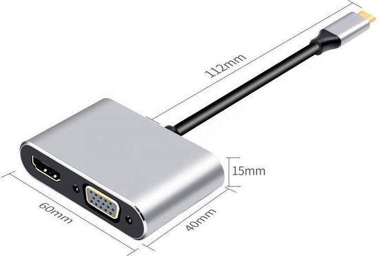 Dockingstation | Panzer Serie | 4K HDMI | VGA Adapter Hub | USB 3.0 Opladen | 4-in-1 | Type USB-C | PD Port | Apple MacBook Pro iMac | iPad| Tablet | Samsung | Lenovo | HP | Docking | Adapter | Uitbreiding laptop | Scherm aansluiten