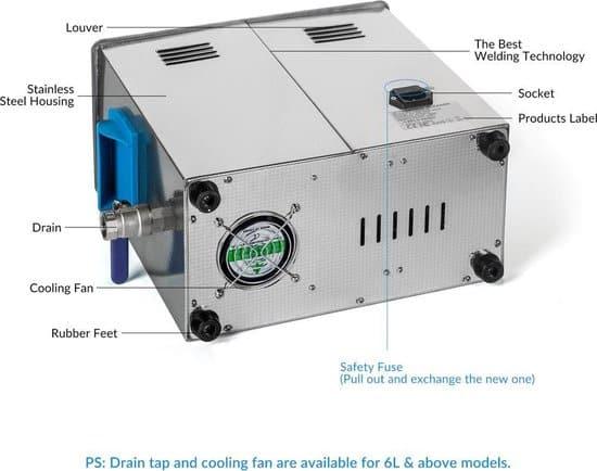 GT Sonic Ultrasone Reiniger - 6L (werkvolume 5,1L) - VGT-1860QTD - Digitale Timer - 0 tot 80ºC - 1 tot 99 minuten - Display - Professionele Reiniger