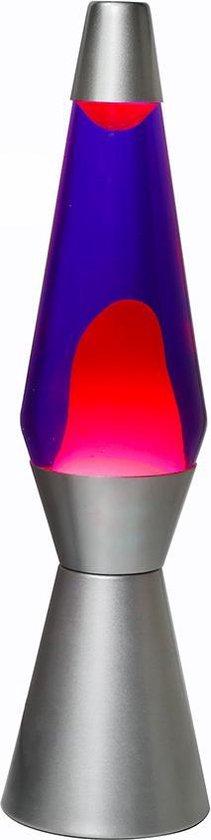 i-total lavalamp conisch voet zilver | rode lava en blauwe vloeistof
