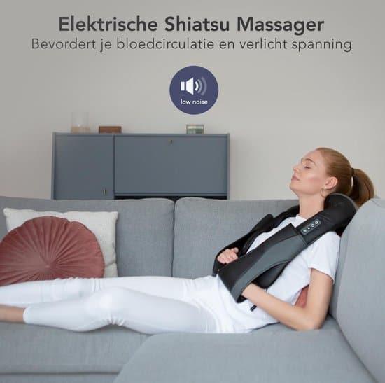 LifeGoods Shiatsu Massage Kussen - Elektrisch Nek en Schouder Apparaat – Zwart