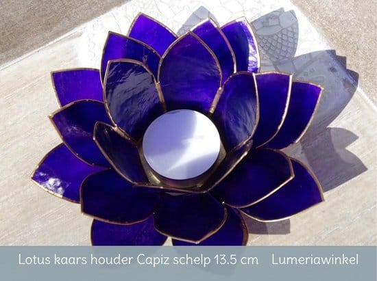 Lotus sfeerlicht indigo 6e chakra goudrand - 13.5 cm - S
